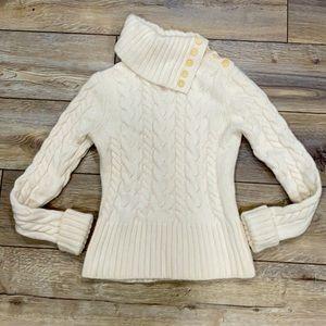 BANANA REPUBLIC Lambs Wool Argyle Cream Turtleneck Button Sweater SMALL